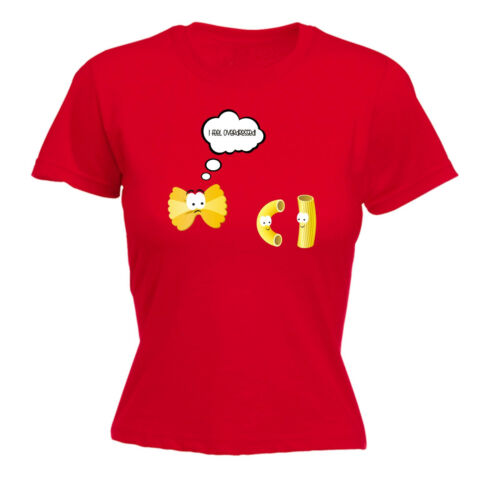 I Feel Overdressed Pasta WOMENS T-SHIRT Italian Chef Food Cartoon birthday gift