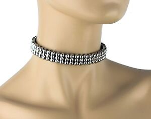 7481043b3fd75 Details about Silver NCIS Abby Studded Choker Goth Punk Gothic Choker  Collar Necklace