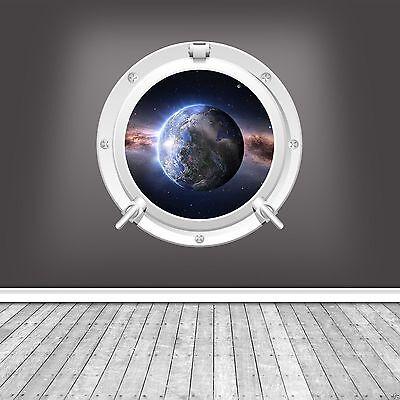 FULL COLOUR EARTH SPACE GLOBE PORTHOLE WALL STICKER KIDS BEDROOM BATHROOM DECAL