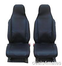UNIVERSAL FRONT BLACK BLACK FABRIC SEAT COVERS CAR VAN MOTORHOME BUS MPV TRUCK