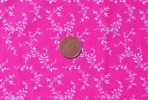 CERISE WITH TINY WHITE FLORAL GARLANDS  100 COTTON FABRIC FQ - Norwich, United Kingdom - CERISE WITH TINY WHITE FLORAL GARLANDS  100 COTTON FABRIC FQ - Norwich, United Kingdom