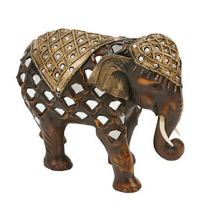 Wood-Effect-Mirror-Glass-Elephant-Trunk-Down-Gift-Ornament-Figurine-Collectable