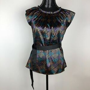 Spense-Women-039-s-Blouse-with-Belt-size-Small-Black-Multicolor-Blue-Gold-NWT