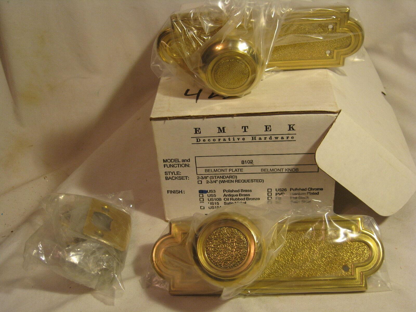 EMTEK 8202 US3 Polished Brass Belmont Plate Knob new door entry set hardware