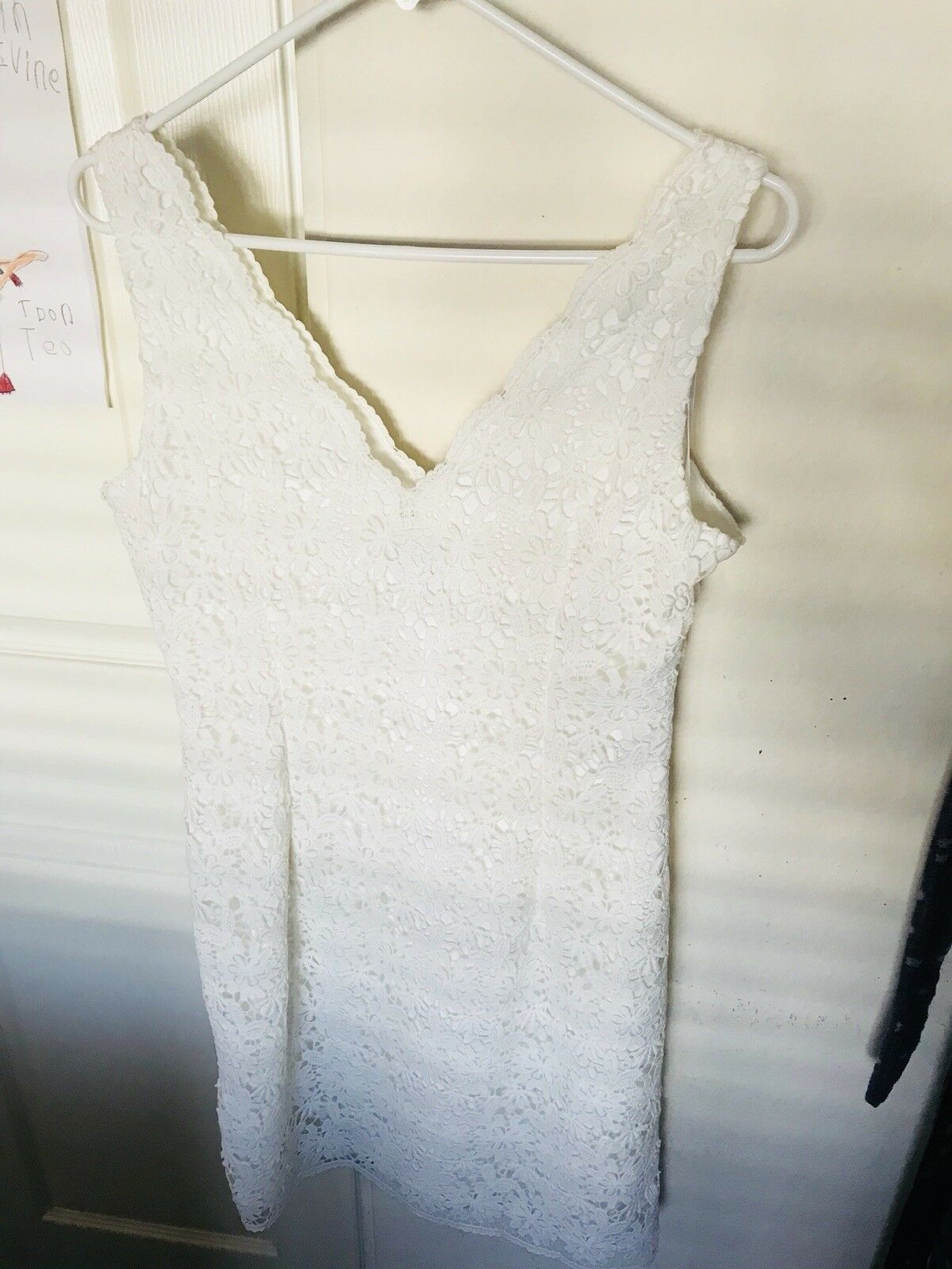 Preowned White Dress Women Size 6 Ann Taylor