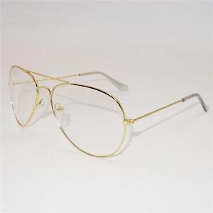 a6f93b75d4 Image is loading Vintage-Classic-Fashion-Pilot-Sunglasses-Clear-Lens-Glasses -