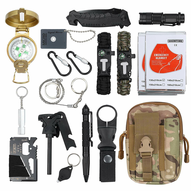 Kamtop Kit de Supervivencia 18 en 1 Herramientas con Manta de Emergencia SOS