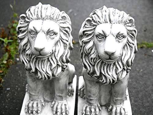 Classico Leone in Resina Giardino Ornamenti 2pc PRATO EFFETTO PIETRA SCULTURE Antico