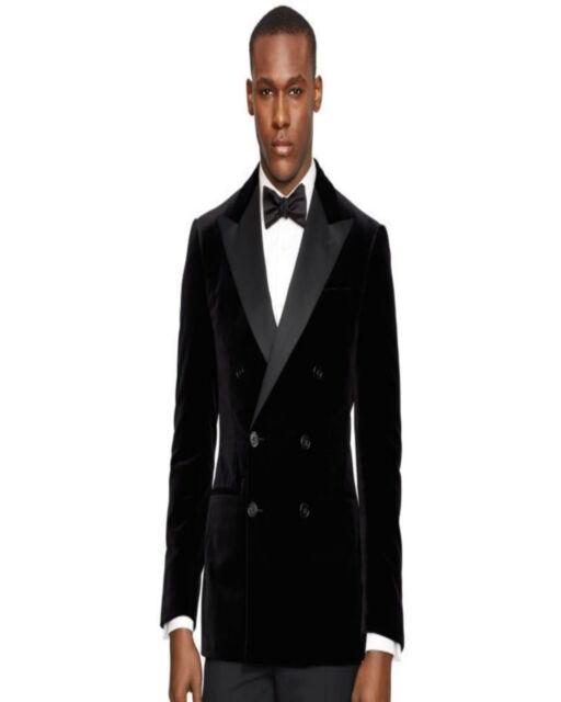 Men Black Velvet Jackets Blazer Db Designer Grooms Wedding Tuxedo