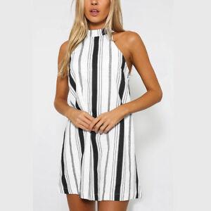 Women-Stripe-Halter-Mini-Short-Dress-Summer-Sexy-Sleeveless-Backless-Dresses-New