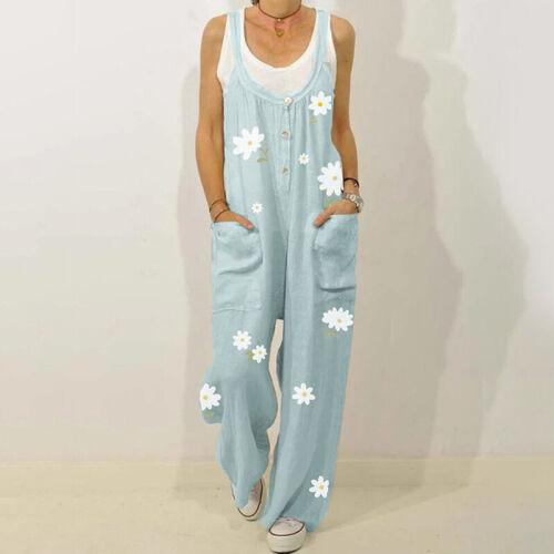 Womens Cotton Linen Flroal Jumpsuit Dungarees Ladies Loose Overalls Playsuit