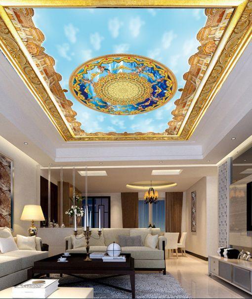 3D Blau Circle 11 Ceiling WallPaper Murals Wall Print Decal Deco AJ WALLPAPER GB