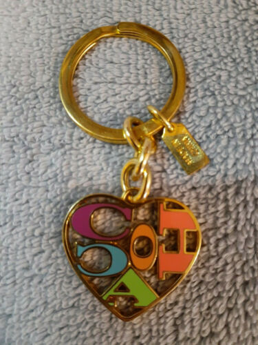 Coach Signature C Heart Key Chain Ring - Gold