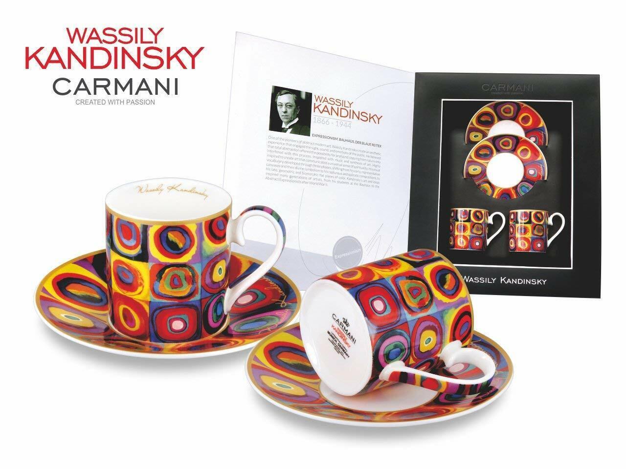 Carmani Painters 4-pc  color Study  Espresso Coffee Set, Kandinsky Porcelain