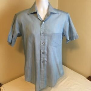 Vtg-Sears-Best-Shirt-Wide-Collar-70s-Hipster-Disco-Size-15-Blue-Short-Sleeve-FS
