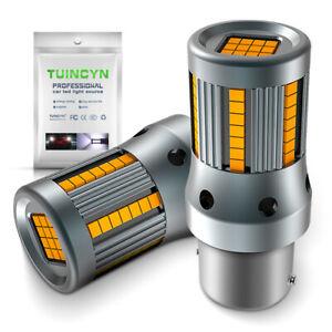 2-x-ampoule-66-LED-ORANGE-BA15S-1156-P21W-VOITURE-Feux-de-Jour-SMD-clignotant