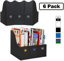 Magazine File Holder Set Of 6 Black Sturdy Cardboard Magazine Holder Folder