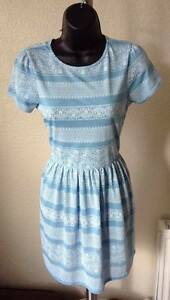 TopShop-Light-Blue-Skater-Dress-SIZE-8