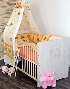 Babybett Gitterbett Komplett Set Kinderbett 5Farben UMBAUBAR 60x120 weiß rosa