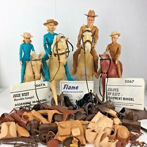 Vintage-Marx-Johnny-West-Jane-Lot-Toy-Horses-Accessories-Cowboy-Clothes-Gun-Chap