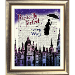 ART-PRINT-ON-ORIGINAL-ANTIQUE-BOOK-PAGE-Mary-Poppins-Dictionary-Picture-London