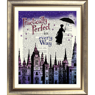 ART PRINT ON ORIGINAL ANTIQUE BOOK PAGE Mary Poppins Dictionary Picture London