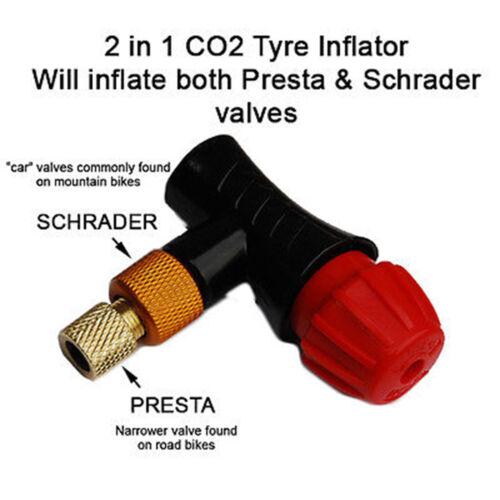 2 en 1 Presta Schrader CO2 Gaz Pompe à Vélo 16g CO2 à Vies Gonfleur de Pneu