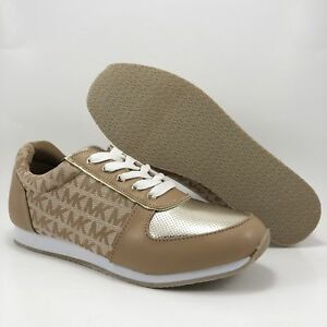 f13618046ad NEW IN BOX MICHAEL KORS HAVANA 2 SHOES YOUTH KIDS TAN   GOLD TENNIS ...