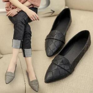 8d956ecb9a48 Womens Loafer PU Leather Checks Pointed Toe Loafers Flats Oxfords ...
