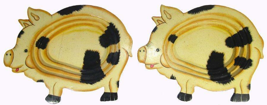 Pig Bowls Dishes Set 2 Handpainted Stepped Wood 27.5 x 21.5 cm