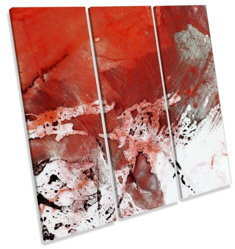 Red Abstract Grunge White TREBLE CANVAS WALL ARTWORK Print Art