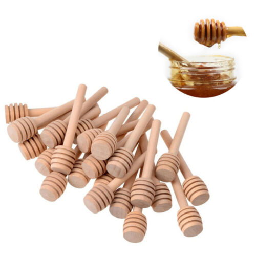 """30PCS 3/"""" Small Wooden Honey Spoon Dipper Tiny Wood Spoon Dippers Stick Drizzle"""