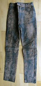 Phantasm-Distressed-Brown-Plain-Custom-Style-Motorcycle-Leather-Jeans-28-034-Waist