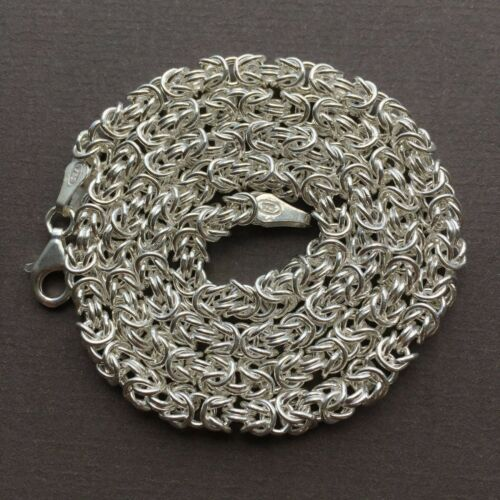925 Sterling Silver Byzantine Chunky Maille Chain Necklaces 3.5mm 20GR 20 Inch