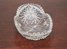 Vintage Clear Crystal Cut Glass Saw Tooth Hob Star Pickle Olive Relish Dish
