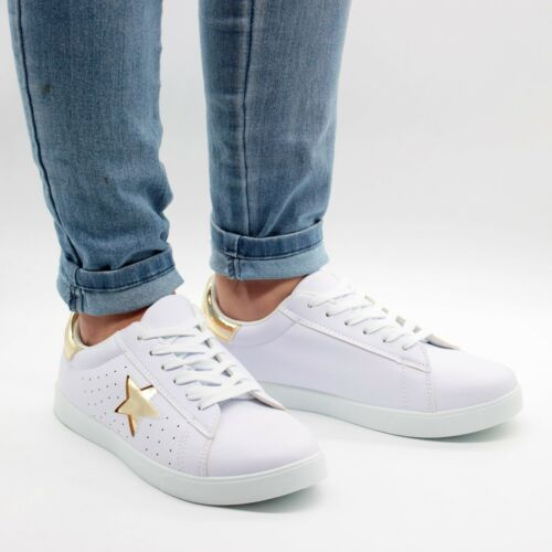 NEW WOMENS SPORTS CASUAL LACE-UP PUMPS TRAINERS RUNNING FITNESS SUPERSTARS GIRLS