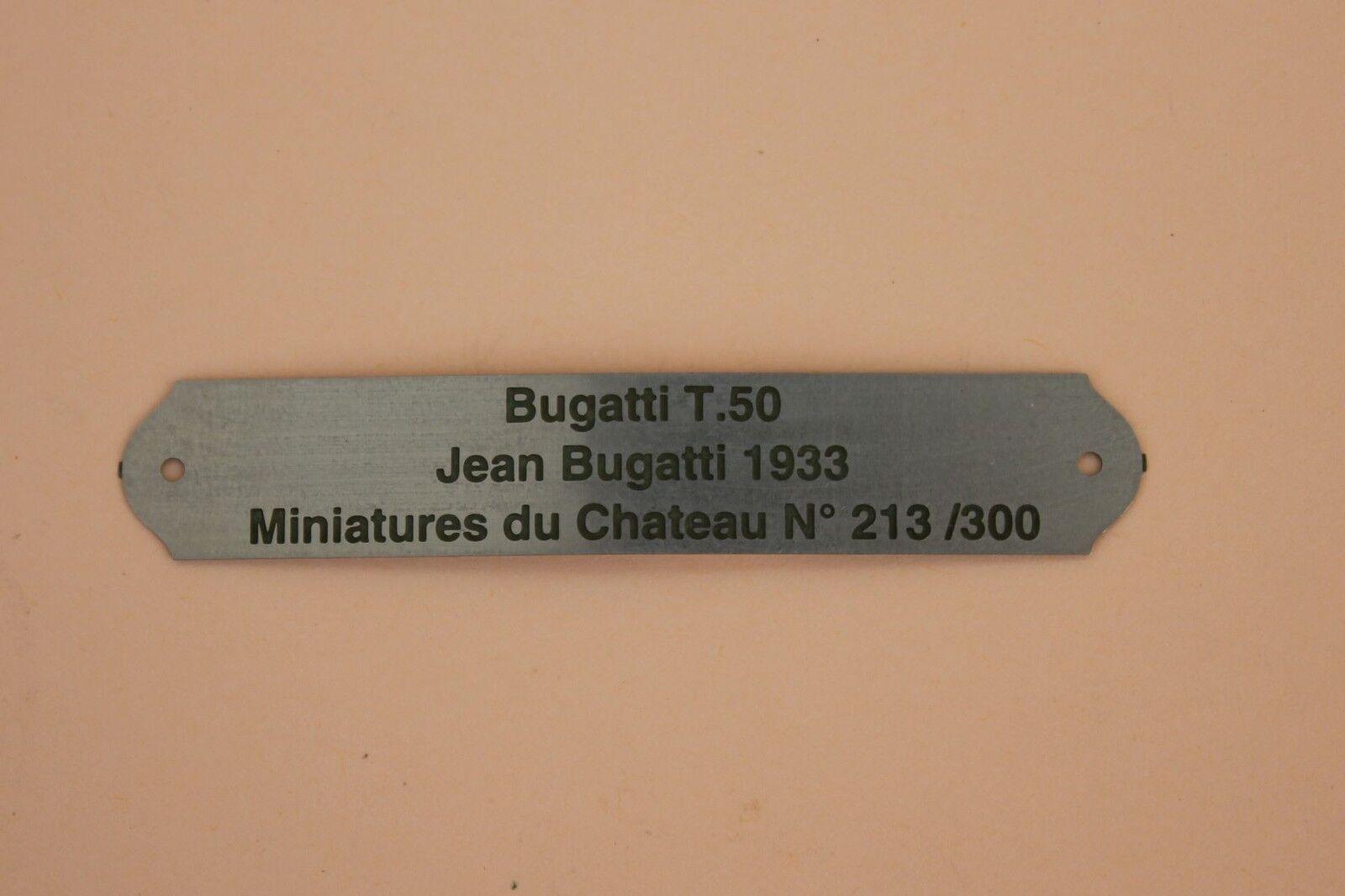 Heco Miniatures chateau plaque métal gravé numéroté Bugatti T50 Jean 2018 N°213
