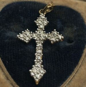 Vintage-Diamond-Sterling-Silver-Necklace-925-Pendant-RSE-Cross