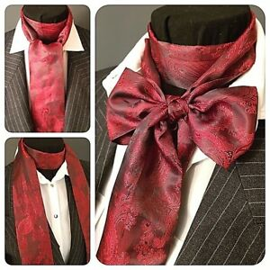 BURGUNDY-RED-SATIN-PAISLEY-SELF-TIE-CRAVAT-VICTORIAN-STEAMPUNK-WEDDING-ASCOT