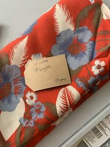 Red-White-And-Blue-Hawaiian-Floral-Cotton-Rayon-Remnant-Fabric-Print-110-X-135