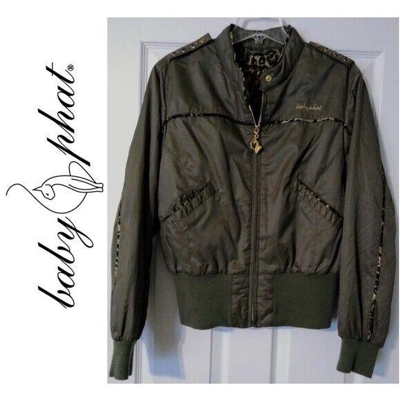 Army green bomber jacket baby phat animal print women juniors xl extra large