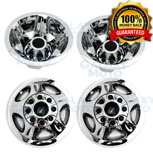 "08-10 Chevy Silverado DUALLY Chrome 17"" Wheel Simulator Liner+Center Caps Cover"