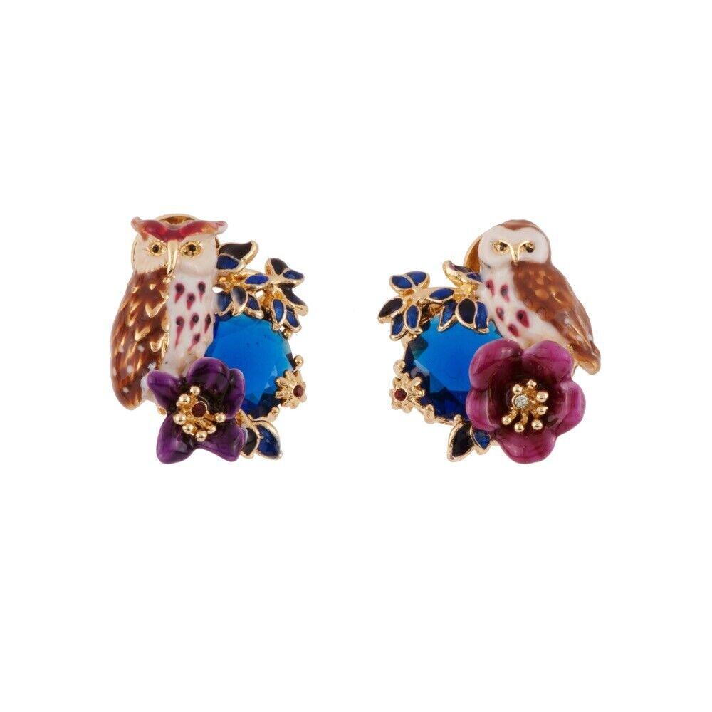 Les Nereides Eagle Owl Couple Fuchsia Flower And Dark bluee Stone Earrings