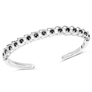 925-Sterling-Silver-Bangle-Bracelet-Black-Diamond-1-88-ct-Gemstone-7-50-inches
