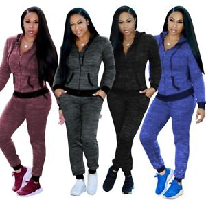 6dd3986ad5c06b Details about Women Ladies 2Pcs Casual Hoody Tops Sweatshirt Track Pants  Sweat Suits Tracksuit