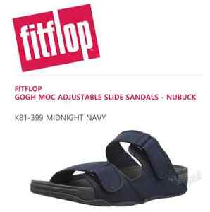 2ce7980ff8e44 Details about FITFLOP K81 GOGH MOC ADJUSTABLE SLIDE SANDALS (MIDNIGHT NAVY)  (SIZE  US 8 9 10)