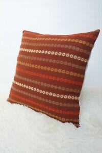 Original-Retro-Fabric-Cushion-Cover-70s-16x16-034-Vintage-Brown-Campervan-Boho