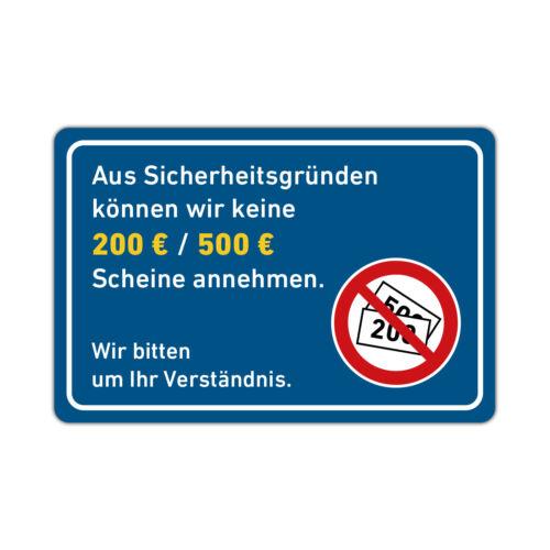 200 Euro Scheine Annahme Set XXL Aufkleber Keine 500