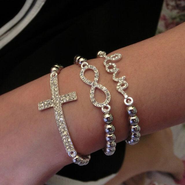 Hot Fashion Crystal Rhinestone Cross Love Infinity Stretch Beaded Bracelet Gift