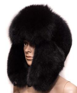 653fdef02 Details about Genuine Black Velvet Fox Fur Handmade Men's Winter Cap  Trapper Ushanka Hat